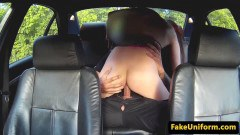 UK cutie sucks off and rides fake cop on the backseat