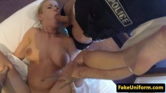 Busty blonde Brit dicksucks two police officers