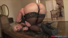 Lingeried blonde MILF ass probed with European BBC