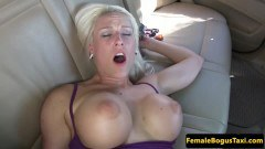 Busty blonde cab driver backseat drilled by passenger