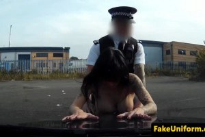 Hot UK prostitute gets nailed by fake cop outdoors