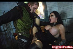 Busty vampire chick pumped on table