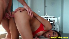 Smoking ebony girlfriend takes it up the butt for the first time
