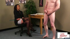 Dominant bureau Britt instructing jerkoff