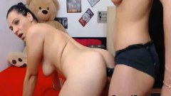 Amateur lesbo fucked with strapon on webcam