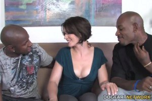 Sarah Shevon buxom MILF craving for two black dicks at the same time