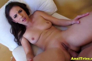Sporty brunette with perfect boobies tries anal sex