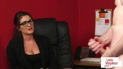 CFNM office hottie watches slave during wanking session