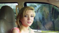 Dakota Skye picked up blonde teenager facialized in the car
