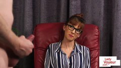 British secretary with glasses gives JOI
