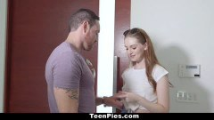 Teen hottie gets pumped and creampied by her neighbor