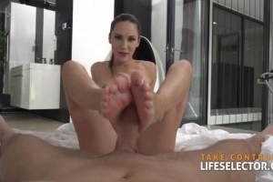 Lily Moon gives this cop a POV footjob before sex