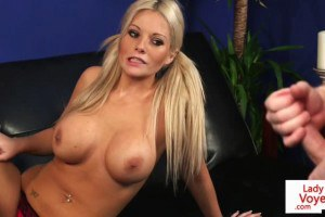 Busty peeping tom Brit strips and tease giving JOI
