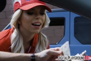 Trisha Parks uniformed blonde shopping cart girl fucked in the parking lot