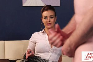 Large breasted office femdom watches guy jerk off