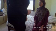 Attractive Arab woman in hijab gets face fucked