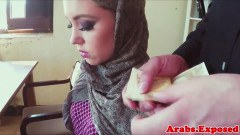 Hijab arab debutante is offered money to fuck on the desk