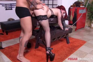 Violet Revolver submissive Canadian redhead gets tamed by the maledom