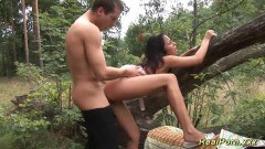 German babe fucked in the forest by random guy
