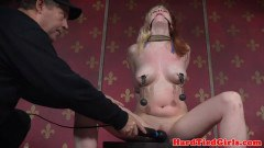 Bigtitted domination sex slave flogged while drooling