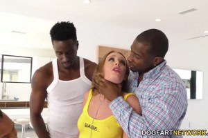 Daisy Stone sexy hoe gets her holes stuffed with black cocks during gang bang