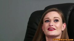 Department cuties stroking pecker during clothed female kink