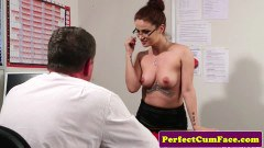Redhead secretary takes her top off to enjoy facial
