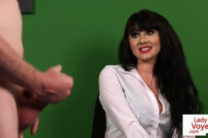 English clothed female naked male peeping tom adores JOI in the bureau