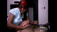 Indian doll with mask jerks off her partner