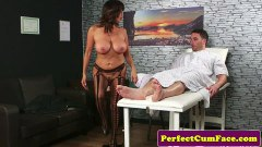 Tara Holiday large breasted British mature sucks and tugs patient's dong
