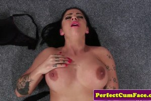 Inked British hoe with huge knockers throated and face jizzed