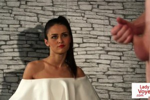 Beautiful CFNM femdom instructs slave to jerk off