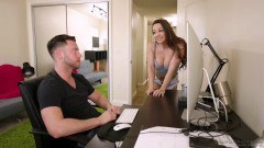 Abigail Mac busty stepsister asks stepbro if she can massage his hard cock