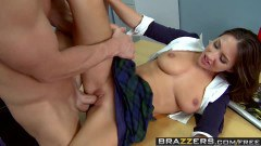Lizz Tayler hot schoolgirl with big breasts fools around with the teacher