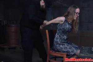 Bigtitted sub canned and groped by master
