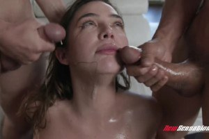Blair Williams has her first blowbang with five studs
