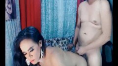 Two horny Asian trannies having intimate butt sex