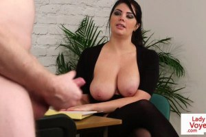 Hot voyeur Britt flashes her big titties in JOI kink