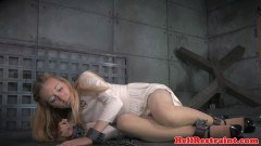 Chained up beauty humiliated and spanked
