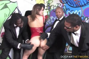 Amber Rayne is face fucked by BBCs during interracial gangbang