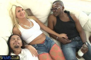 Dumb blonde takes black dicks inside the ass during interracial 4some