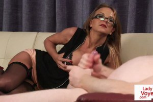 Glasses office beauty makes guy jerk off