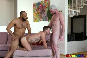 Jerk Off session turns into white on black gay video trio