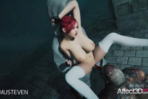 3d animation moster sex with a redhead big tits babe
