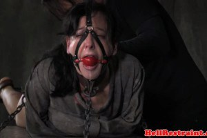 Gagged smalltits sex slave gets toyed during domination