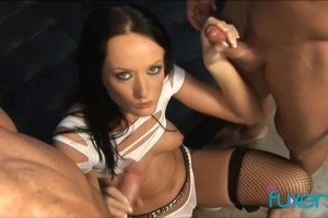 Melissa Lauren strokes two cock in handjob session