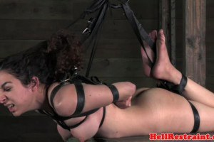 Submissive female hogtied and canned