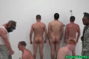 Military boys get drilled during shower