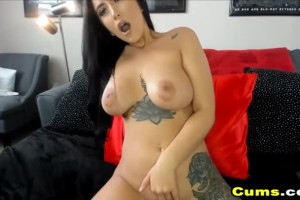 Big boobed American temptress cums multiple times on cam