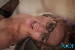 Lingerie MILF with spex seduces younger stud for passionate sex